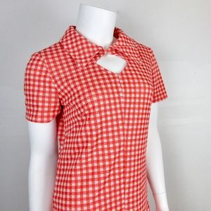 Vintage 1960s 1970s Red White Check Dress, S - M